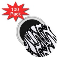 Black And White Wave Abstract 1 75  Magnets (100 Pack)