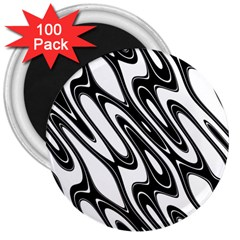 Black And White Wave Abstract 3  Magnets (100 Pack)