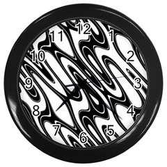 Black And White Wave Abstract Wall Clocks (Black)
