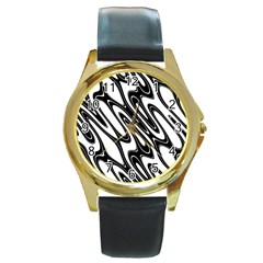 Black And White Wave Abstract Round Gold Metal Watch