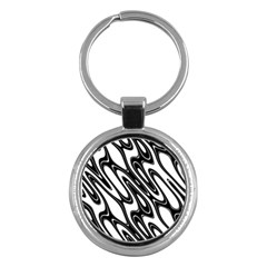 Black And White Wave Abstract Key Chains (Round)