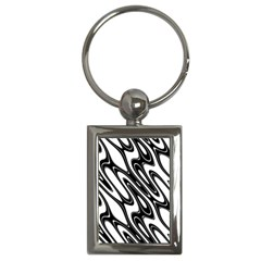 Black And White Wave Abstract Key Chains (rectangle)