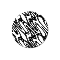 Black And White Wave Abstract Magnet 3  (round)