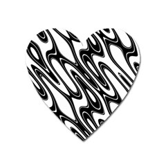 Black And White Wave Abstract Heart Magnet