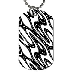 Black And White Wave Abstract Dog Tag (one Side)
