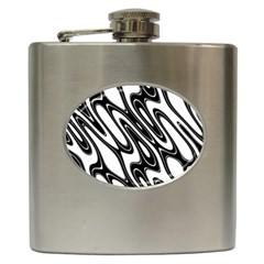 Black And White Wave Abstract Hip Flask (6 Oz)