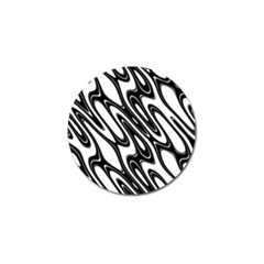 Black And White Wave Abstract Golf Ball Marker (4 Pack)
