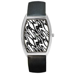 Black And White Wave Abstract Barrel Style Metal Watch
