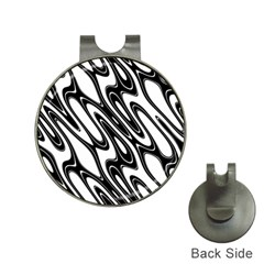 Black And White Wave Abstract Hat Clips With Golf Markers