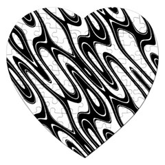 Black And White Wave Abstract Jigsaw Puzzle (heart)