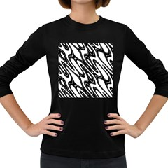 Black And White Wave Abstract Women s Long Sleeve Dark T Shirts