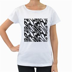 Black And White Wave Abstract Women s Loose Fit T Shirt (white)