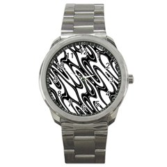 Black And White Wave Abstract Sport Metal Watch