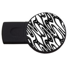 Black And White Wave Abstract Usb Flash Drive Round (4 Gb)