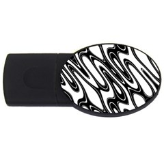 Black And White Wave Abstract Usb Flash Drive Oval (4 Gb)