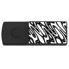 Black And White Wave Abstract Usb Flash Drive Rectangular (4 Gb)
