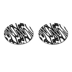 Black And White Wave Abstract Cufflinks (oval)