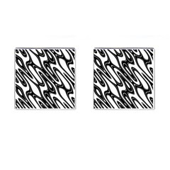 Black And White Wave Abstract Cufflinks (square)