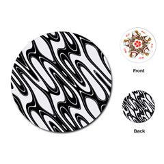 Black And White Wave Abstract Playing Cards (round)
