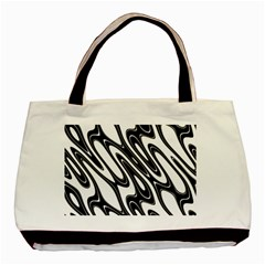 Black And White Wave Abstract Basic Tote Bag