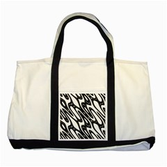 Black And White Wave Abstract Two Tone Tote Bag