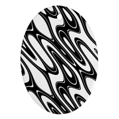 Black And White Wave Abstract Oval Ornament (two Sides)