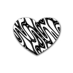 Black And White Wave Abstract Heart Coaster (4 Pack)