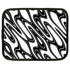 Black And White Wave Abstract Netbook Case (Large)
