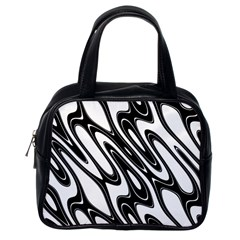 Black And White Wave Abstract Classic Handbags (one Side)