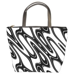 Black And White Wave Abstract Bucket Bags