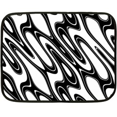 Black And White Wave Abstract Double Sided Fleece Blanket (mini)