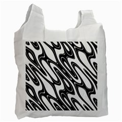 Black And White Wave Abstract Recycle Bag (Two Side)