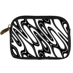 Black And White Wave Abstract Digital Camera Cases