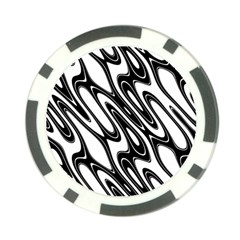 Black And White Wave Abstract Poker Chip Card Guard (10 Pack)