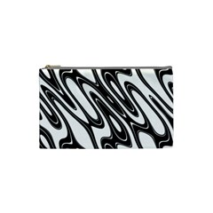 Black And White Wave Abstract Cosmetic Bag (Small)