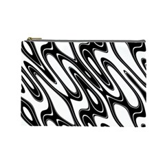 Black And White Wave Abstract Cosmetic Bag (large)