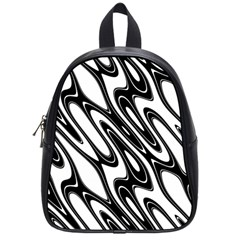 Black And White Wave Abstract School Bags (small)