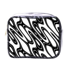 Black And White Wave Abstract Mini Toiletries Bags