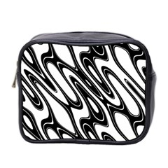 Black And White Wave Abstract Mini Toiletries Bag 2 Side
