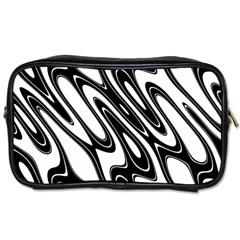 Black And White Wave Abstract Toiletries Bags 2 Side