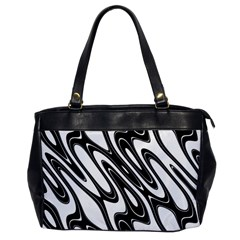 Black And White Wave Abstract Office Handbags