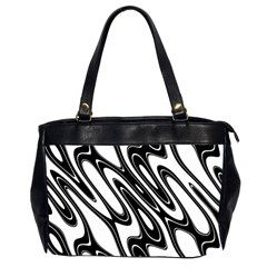 Black And White Wave Abstract Office Handbags (2 Sides)