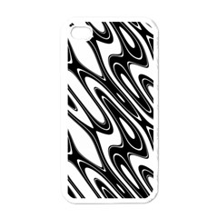 Black And White Wave Abstract Apple iPhone 4 Case (White)