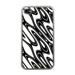 Black And White Wave Abstract Apple Iphone 4 Case (clear)