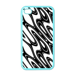 Black And White Wave Abstract Apple Iphone 4 Case (color)