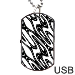 Black And White Wave Abstract Dog Tag Usb Flash (one Side)