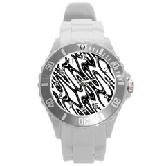 Black And White Wave Abstract Round Plastic Sport Watch (l)