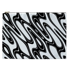 Black And White Wave Abstract Cosmetic Bag (xxl)