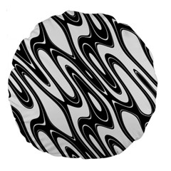 Black And White Wave Abstract Large 18  Premium Round Cushions