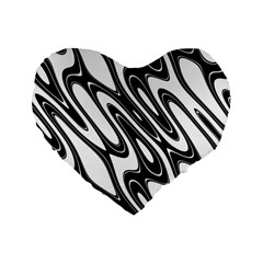Black And White Wave Abstract Standard 16  Premium Heart Shape Cushions